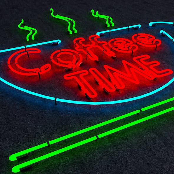 Coffee Time Neon Sign - 3DOcean Item for Sale