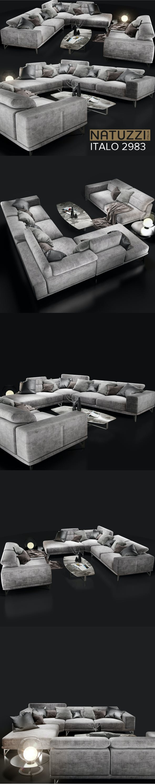 Sofa Natuzzi Italiano grey - 3DOcean Item for Sale