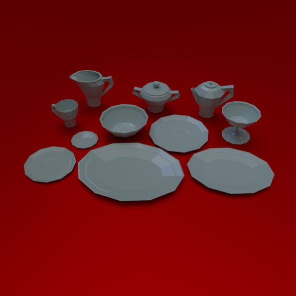 crockery set low poly - 3DOcean Item for Sale