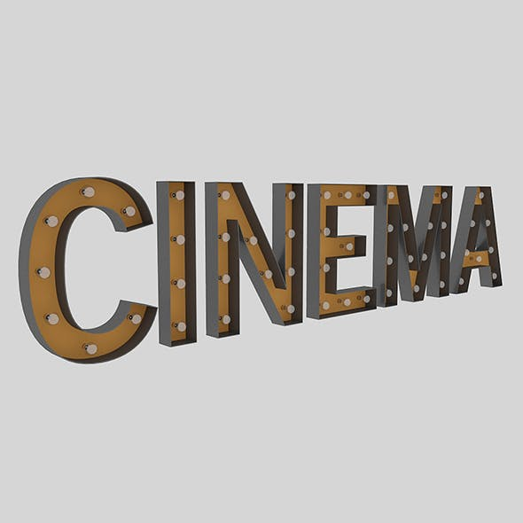 Cinema Sign With Bulb - 3DOcean Item for Sale