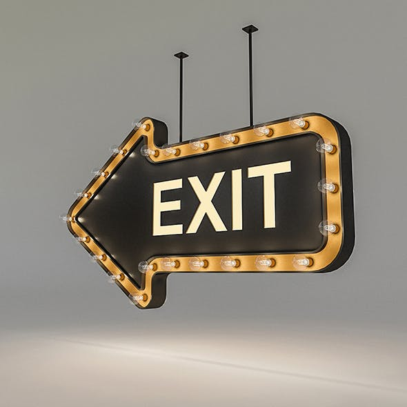 Light Bulb Loft Exit Signage - 3DOcean Item for Sale