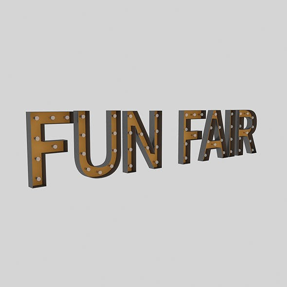 Funfair Sign With Bulb - 3DOcean Item for Sale