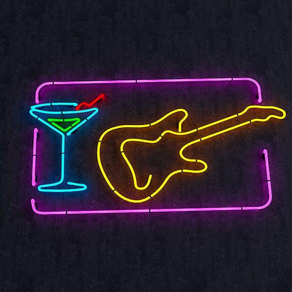 Guitar & Goblet Neon Sign - 3DOcean Item for Sale