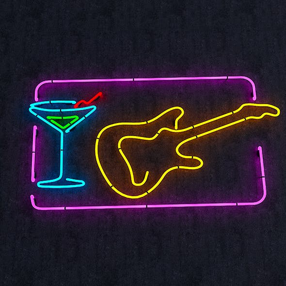 Guitar & Goblet Neon Sign