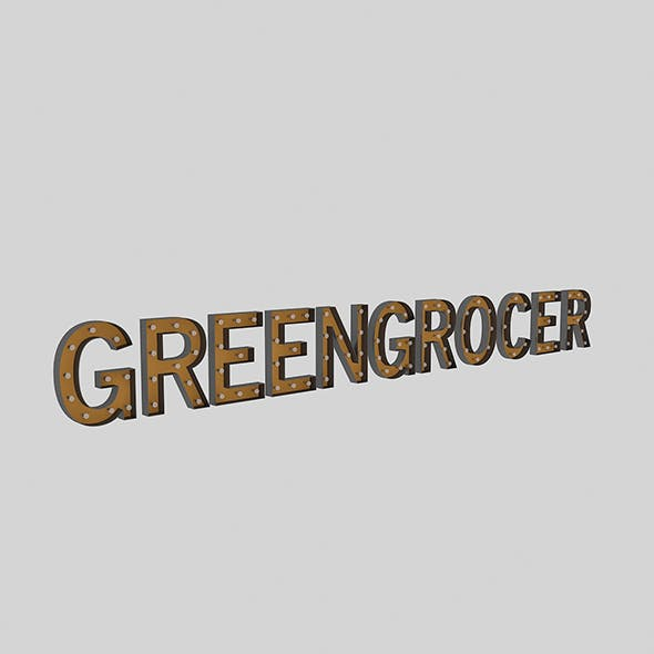 Green Gracor Sign With Bulb - 3DOcean Item for Sale