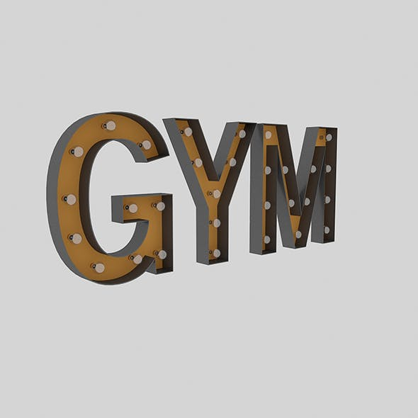 Gym Sign With Bulb - 3DOcean Item for Sale