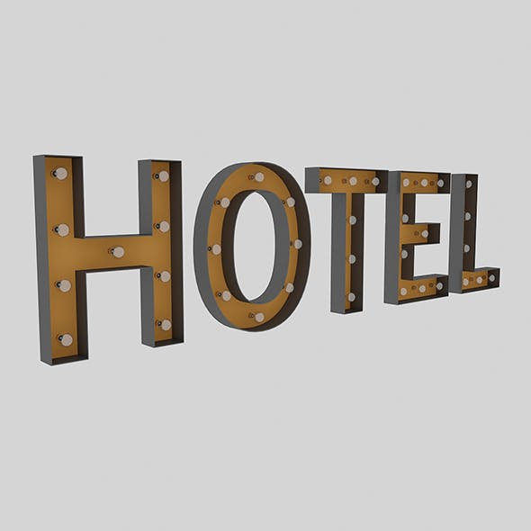 Hotel Sign With Bulb