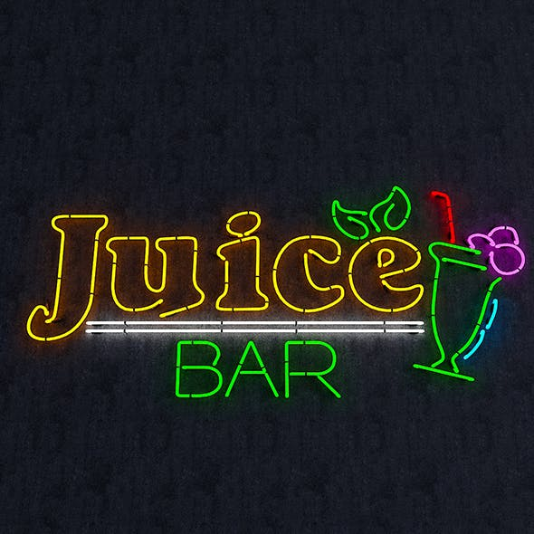 Juice Bar Neon Sign - 3DOcean Item for Sale