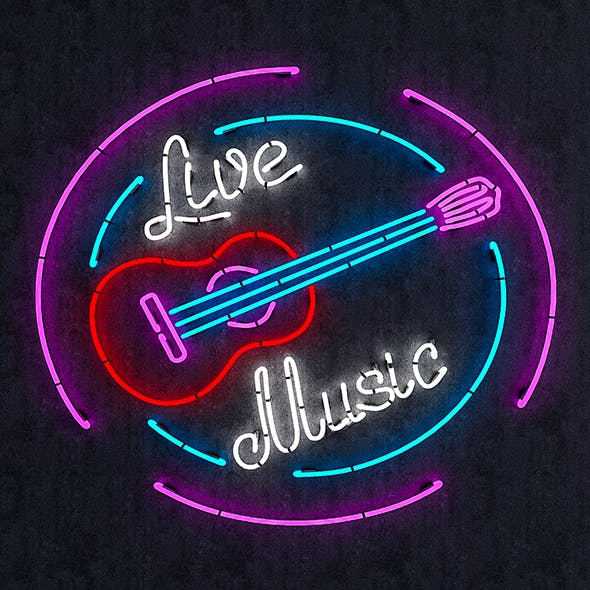 Live Music Neon Sign - 3DOcean Item for Sale