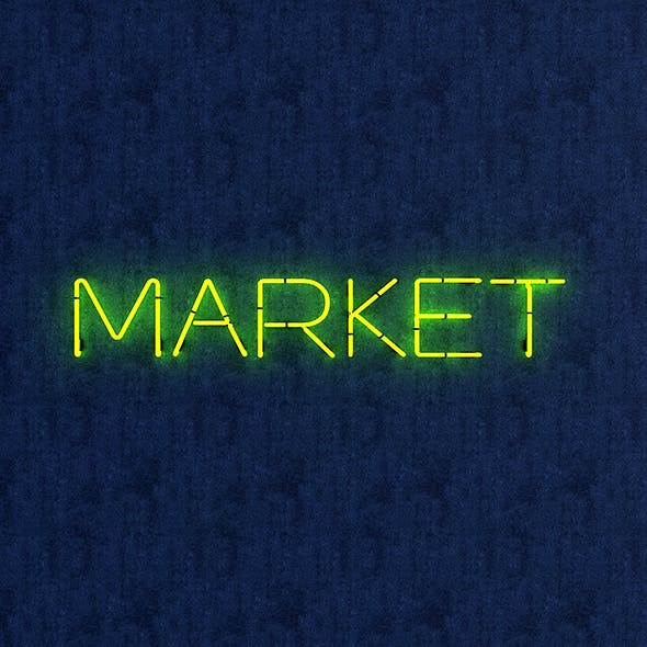 Market Neon Sign - 3DOcean Item for Sale