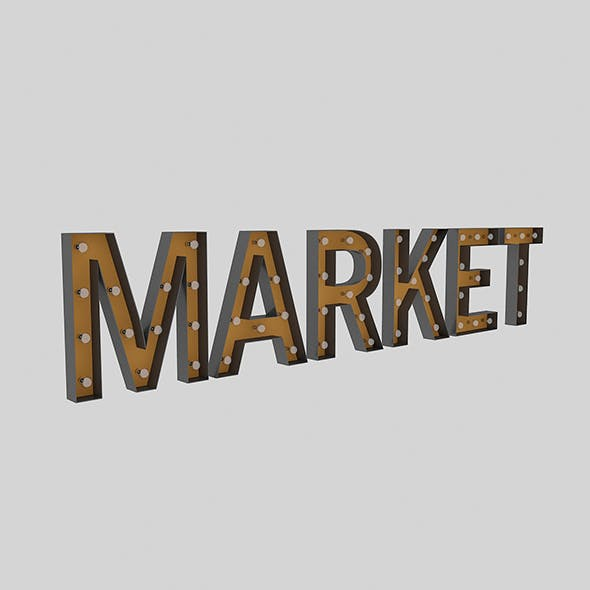 Market Sign With Bulb - 3DOcean Item for Sale