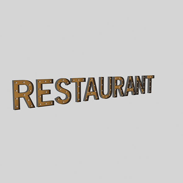 Restaurant Sign With Bulb - 3DOcean Item for Sale