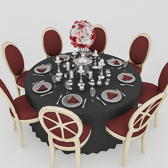 Black Wedding Table - 3DOcean Item for Sale