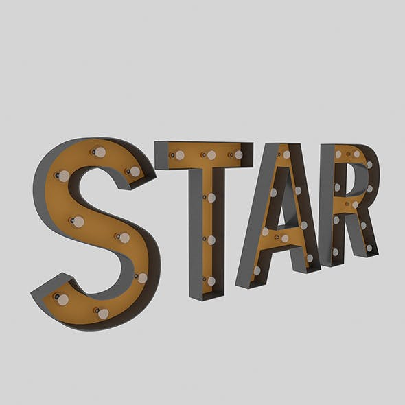 Star Sign With Bulb - 3DOcean Item for Sale