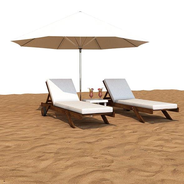Sunbed With Umbrella - 3DOcean Item for Sale