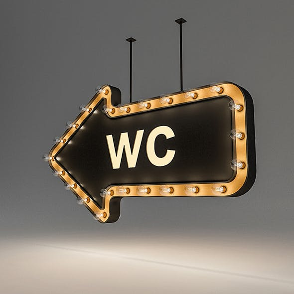 Light Bulb Loft WC Signage - 3DOcean Item for Sale