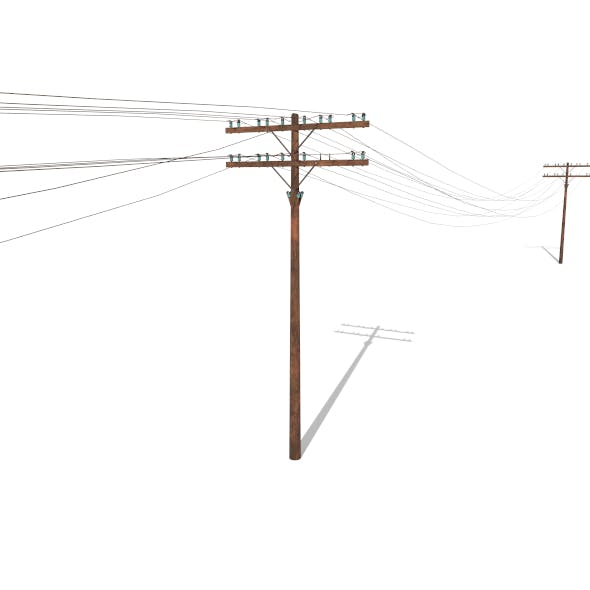 Electricity Pole 33 Weathered - 3DOcean Item for Sale