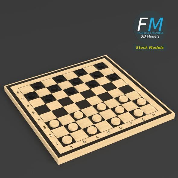 Draughts game board - 3DOcean Item for Sale