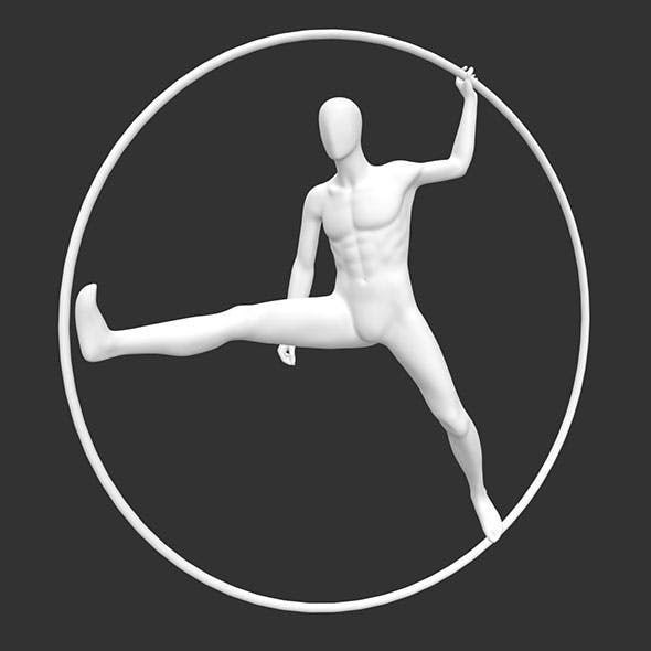 male sports dance Mannequin with Ring circle 3d Printing Model - 3DOcean Item for Sale