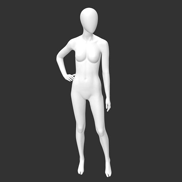 Female mannequin stand akimbo 3d printing model - 3DOcean Item for Sale
