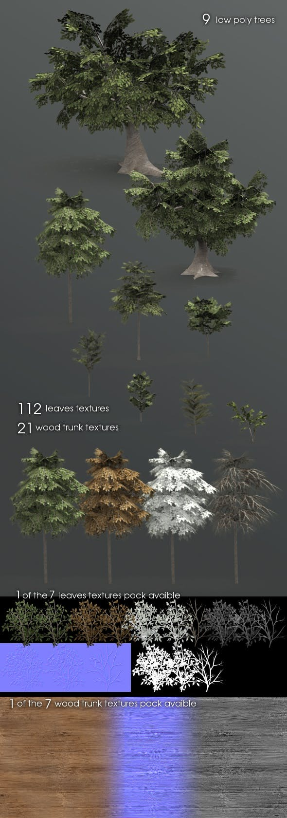 9 forest trees - 3DOcean Item for Sale
