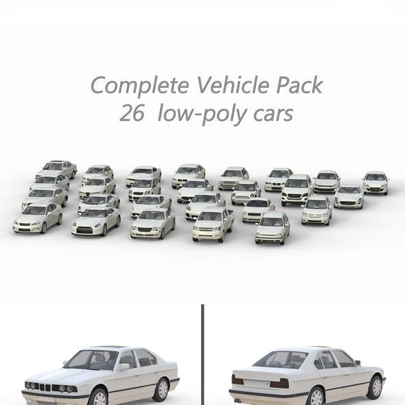Large collection of low poly cars
