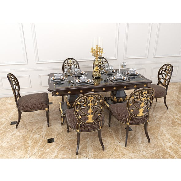 European Style Dinning Table 2 - 3DOcean Item for Sale