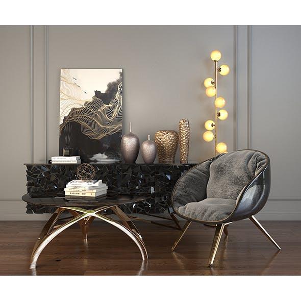 Modern Armchair Set 2 - 3DOcean Item for Sale