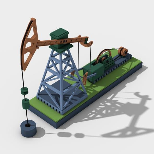 Oil well pump jack for oil production - 3DOcean Item for Sale