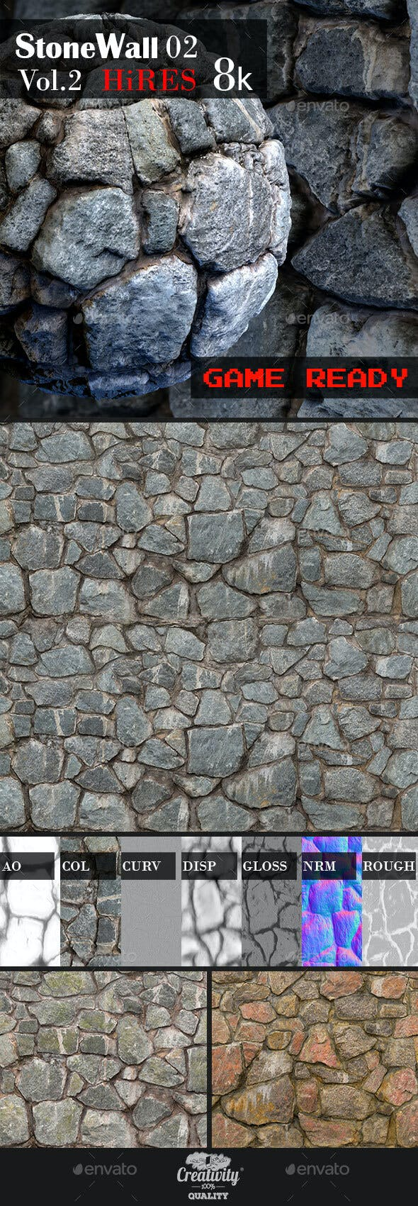Stone Wall 02 - 3DOcean Item for Sale