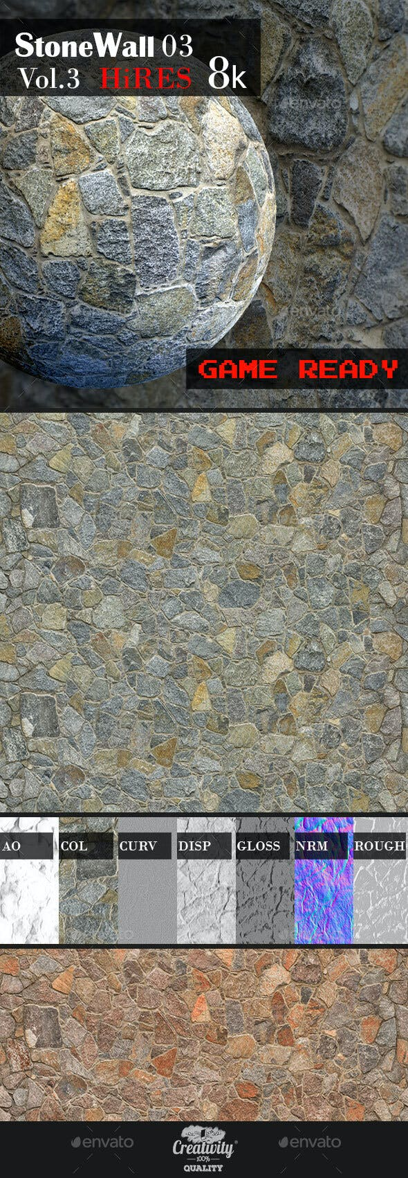 Stone Wall 03 - 3DOcean Item for Sale