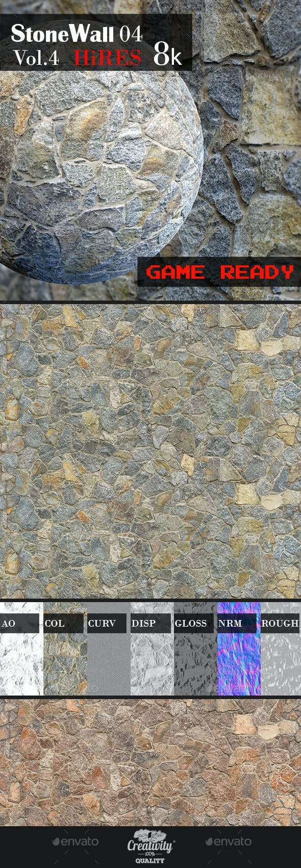 Stone Wall 04 - 3DOcean Item for Sale