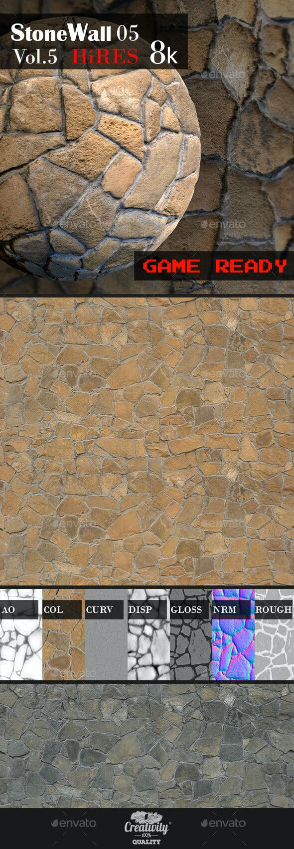 Stone Wall 05 - 3DOcean Item for Sale