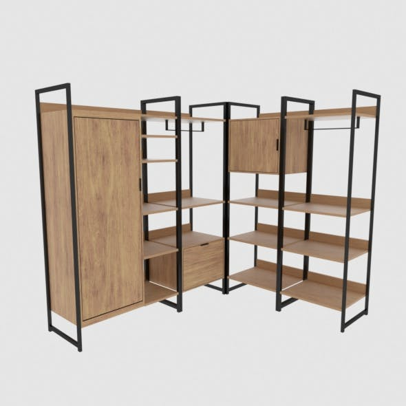 Wooden and iron corner dresser - 3DOcean Item for Sale