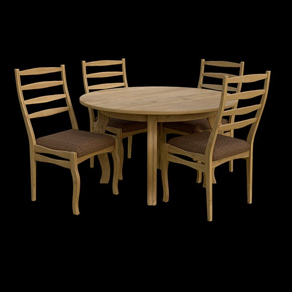 Round table & Chairs - 3DOcean Item for Sale