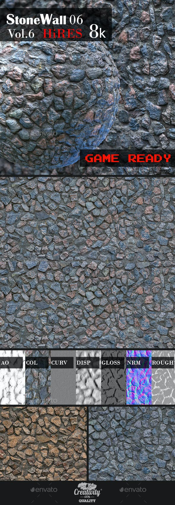 Stone Wall 06 - 3DOcean Item for Sale