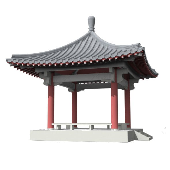 Chinese Square Pavilion  with RC Columns - 3DOcean Item for Sale