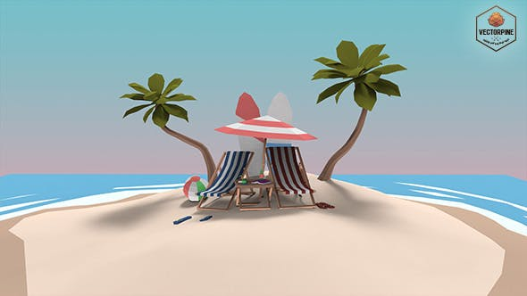 Low Poly Exteriors - Beach Seaside Pack - 3DOcean Item for Sale