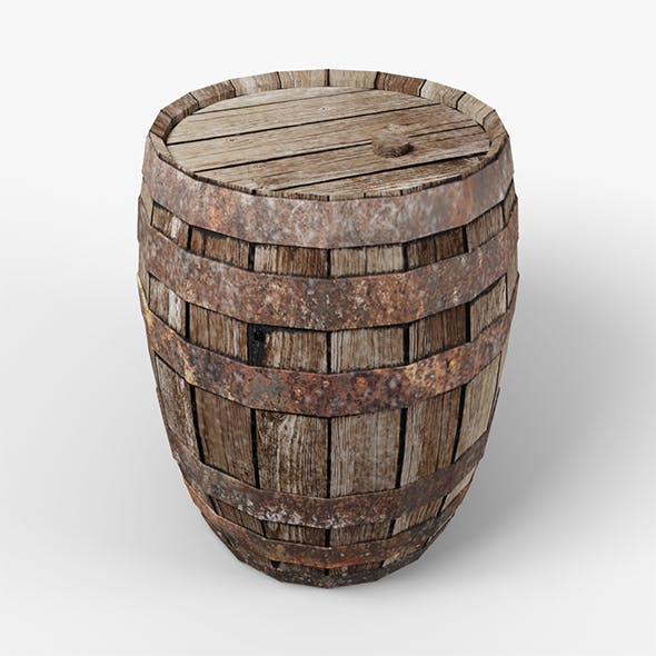 3D Old Barrel low-poly