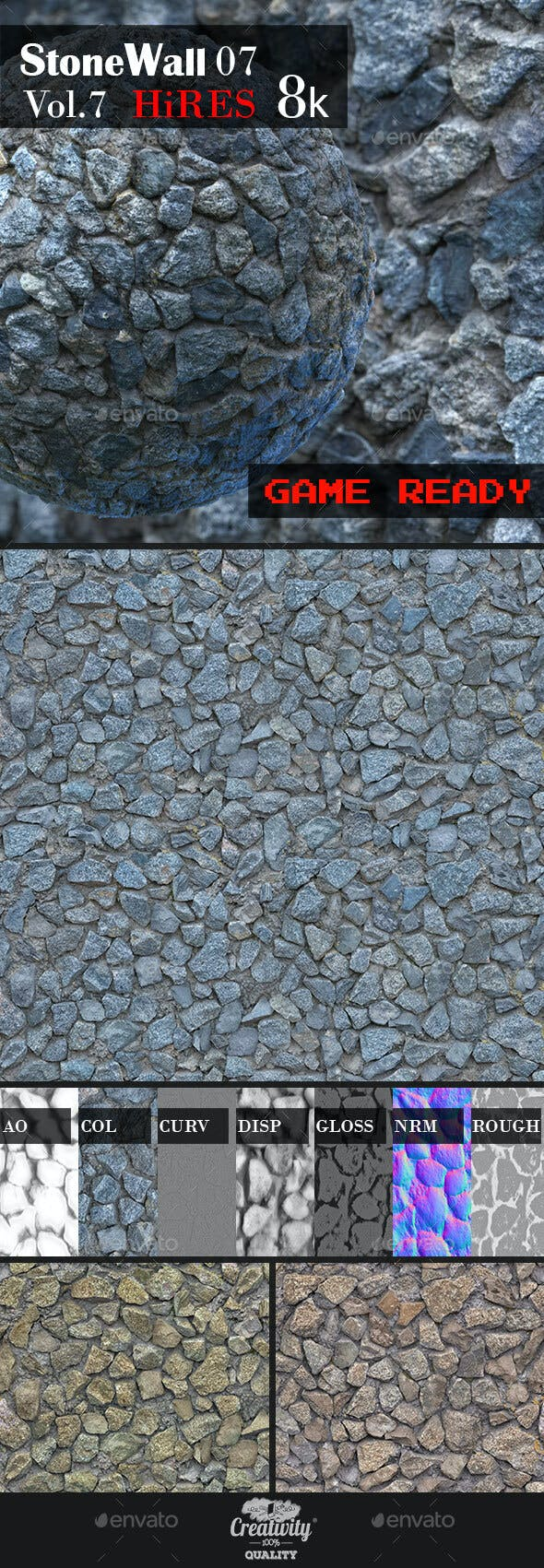 Stone Wall 07 - 3DOcean Item for Sale
