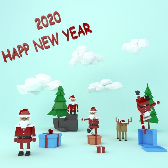 Lowpoly Santa Claus Pack 2020