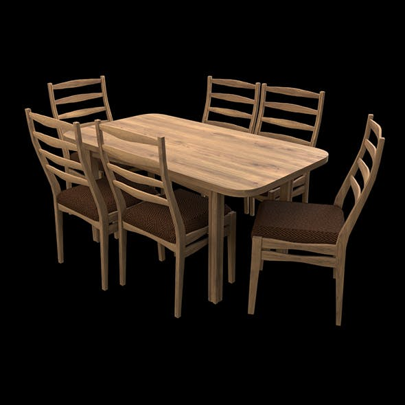 Rectangular table & chairs - 3DOcean Item for Sale