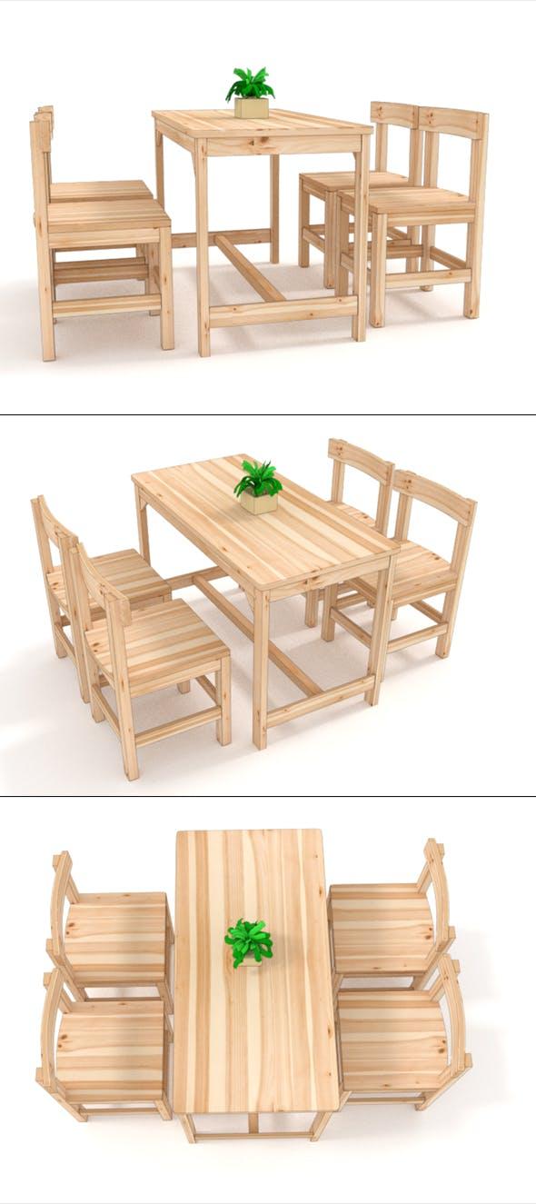 wooden desk chair 3D Model - 3DOcean Item for Sale