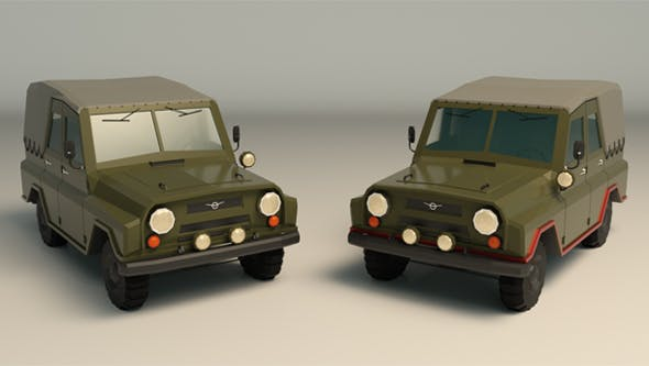 Low Poly Military Jeep 04 - 3DOcean Item for Sale