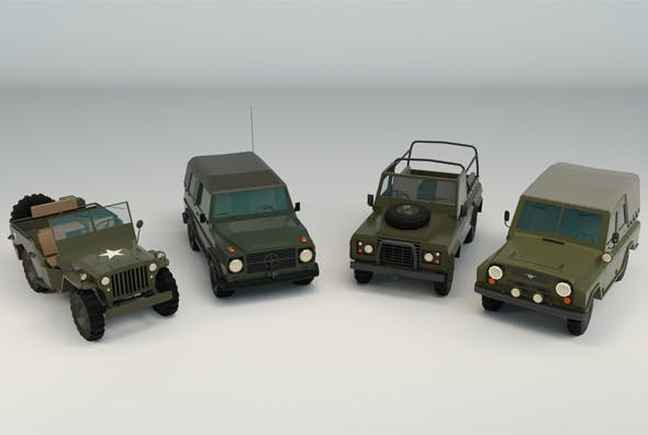 Low Poly Military Jeep Pack - 3DOcean Item for Sale