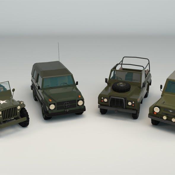 Low Poly Military Jeep Pack