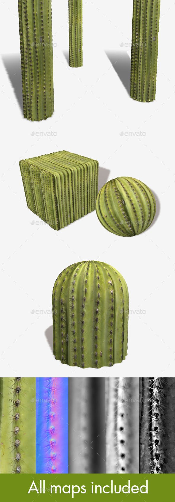 Green Cactus Seamless Texture - 3DOcean Item for Sale