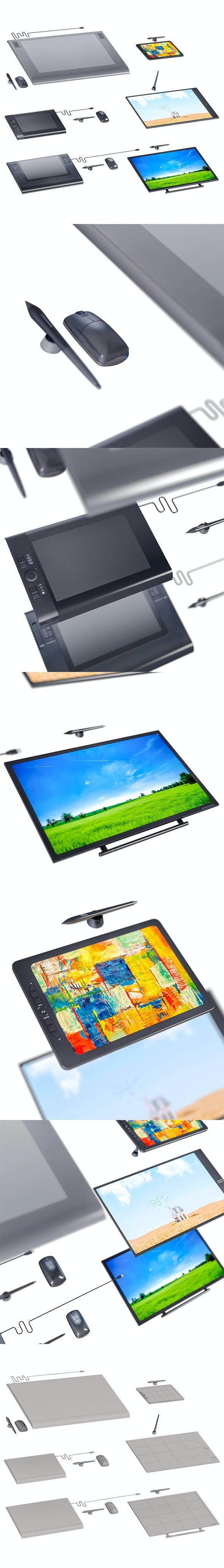 L3DV23G03 - computer graphics tablets set - 3DOcean Item for Sale