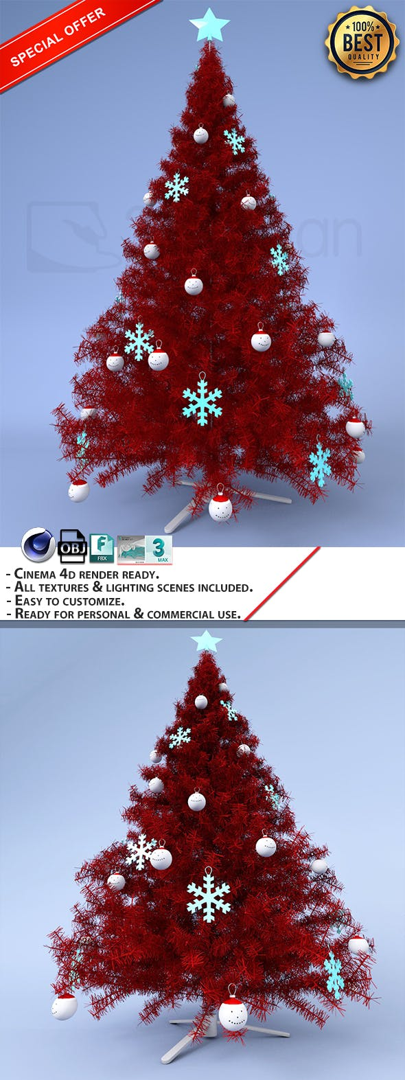 Red Christmas Tree. - 3DOcean Item for Sale