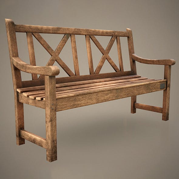 Old Wooden Bench - Low Poly - 3DOcean Item for Sale